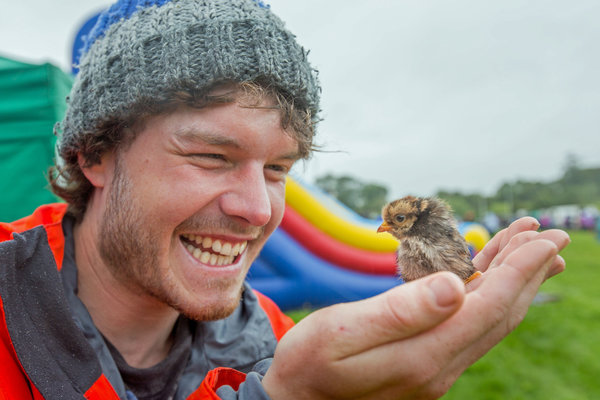 PIC BY @DAXON / CATERS NEWS - (PICTURED: Allan Dixon takes selfie with chick) This real-life Dr. Dolittle walks with the animals, talks with the animals, and... TAKES SELFIES with them. Traveller Allan Dixon has amassed a hilarious collection of shots with a variety of exotic creatures. Included in the 29-year-olds collection are smiling snaps with the likes of kangaroos, quokkas, camels and sea lions. In some of the shots, Allan, who is originally from Wicklow, Ireland, can even be seen in festive poses, placing a Santa hat on himself or his furry friends. - SEE CATERS COPY