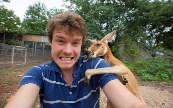 PIC BY @DAXON / CATERS NEWS - (PICTURED: Allan Dixon takes selfie with kangaroo) This real-life Dr. Dolittle walks with the animals, talks with the animals, and... TAKES SELFIES with them. Traveller Allan Dixon has amassed a hilarious collection of shots with a variety of exotic creatures. Included in the 29-year-olds collection are smiling snaps with the likes of kangaroos, quokkas, camels and sea lions. In some of the shots, Allan, who is originally from Wicklow, Ireland, can even be seen in festive poses, placing a Santa hat on himself or his furry friends. - SEE CATERS COPY